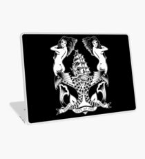 Don't Give Up the Ship mermaid tattoo design Laptop Skin