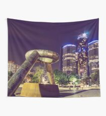 Detroit At Night Wall Tapestry
