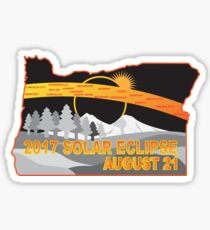 2017 Solar Eclipse Across Oregon Cities Map Illustration Sticker