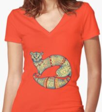 fabulous butter colour ferret  Women's Fitted V-Neck T-Shirt