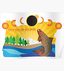 2017 Solar Eclipse Across Oregon Map Illustration Poster