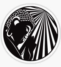 Buddha Raised Hand with Light Rays Circle Black and White Illustration Sticker