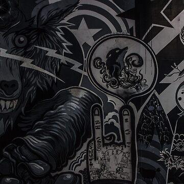 Wolf Graffiti Art - Black & White by KyleJDM4