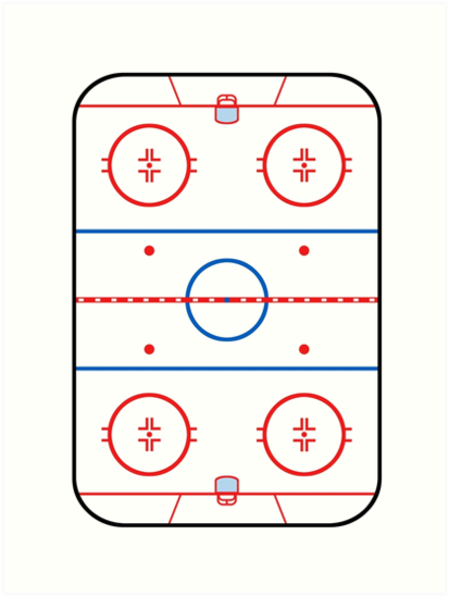 Ice Rink Diagram Hockey Game Companion Art Prints By Garaga Redbubble