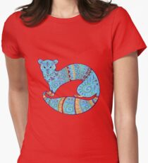 Turquoise Fuzzy Ferret Women's Fitted T-Shirt