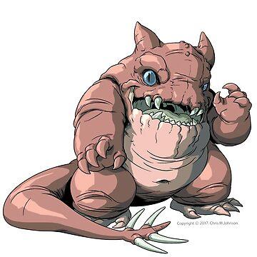 "Kaiju GLUTTONOUS Monster ""Throw Pillow"" by CMJTOYS"