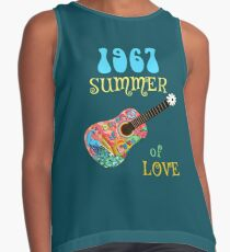 1967 Summer of Love Peacock Guitar Hippie Shirt Contrast Tank