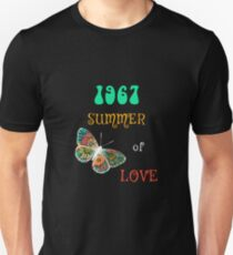 1967 Summer of Love Colorful Hippie Butterfly Shirt T-Shirt