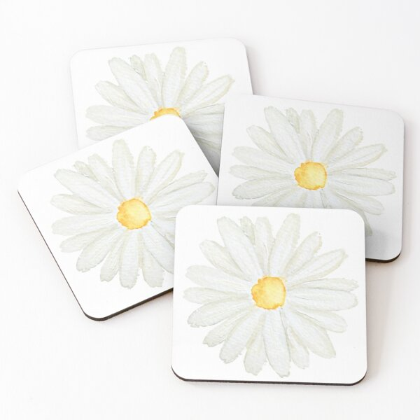 one little white  daisy watercolor  Coasters (Set of 4)