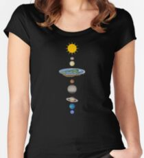 Flat earth solar system Women's Fitted Scoop T-Shirt