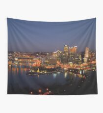 Pittsburgh Skyline (Night)  Wall Tapestry
