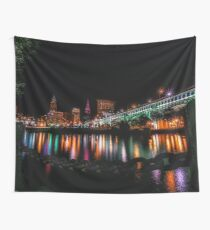 Cleveland Skyline At Night Wall Tapestry