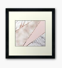 Spliced mixed rose gold marble Framed Print