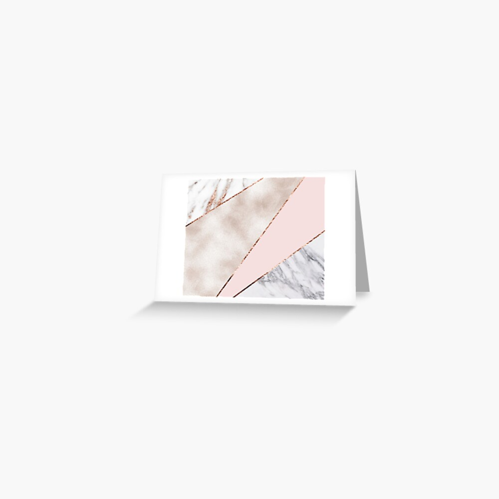 Spliced mixed rose gold marble Greeting Card
