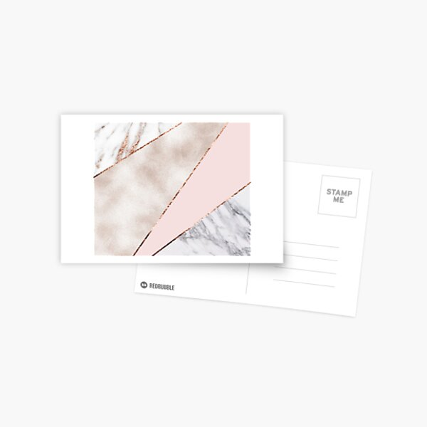 Spliced mixed rose gold marble Postcard
