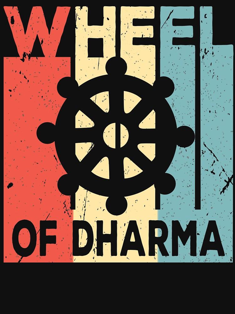 Buddhism Wheel of Dharma Vintage Retro by prosperousjewel