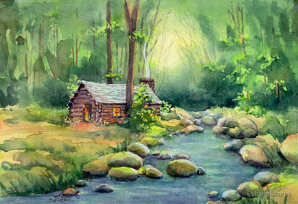 WARM CABIN in the WOODS by SHARON SHARPE by sharonsharpe