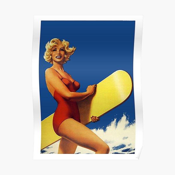 California Beach Babe Summer Swimsuit Pin Up Retro Classic Metal Sign