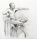 Seated male nude by Roz McQuillan