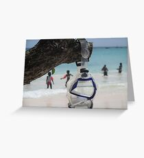 goggles on beach Greeting Card