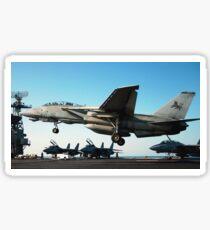An F-14D Tomcat prepares to land on the flight deck of USS Theodore Roosevelt. Sticker