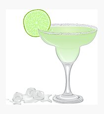Margarita cocktail with a slice of lime Photographic Print