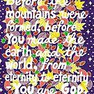 Bevor die Berge gebildet wurden, Psalm Bibel Vers, Schriftzug, Sterne und Blätter Doodle, inspirierend von Eneri Collection
