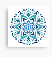Blue Painted Flower Logo Canvas Print