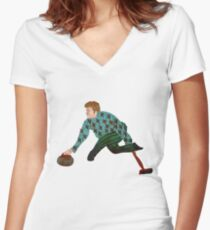 Curling Women's Fitted V-Neck T-Shirt