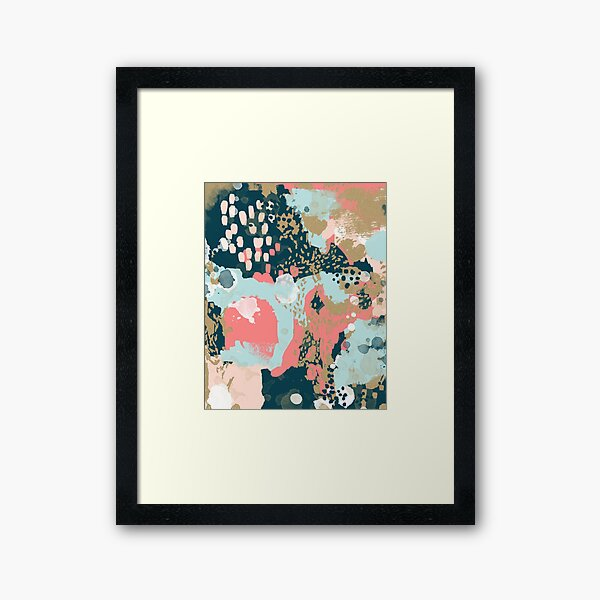 Eisley - Modern abstract painting in bright fun happy beachy colors for trendy girls college decor Framed Art Print