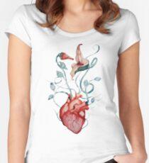 Pink Floyd Flowers | Watercolor painting | Rock fan art Women's Fitted Scoop T-Shirt