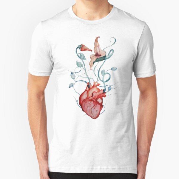 Rosa Floyd Blumen   Aquarellmalerei   Rock Fan Kunst Slim Fit T-Shirt