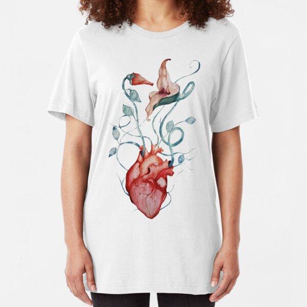 Pink Floyd Flowers   Watercolor painting   Rock fan art Slim Fit T-Shirt