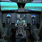 Innenansicht eines Flugzeug-Flugsimulators. von StocktrekImages