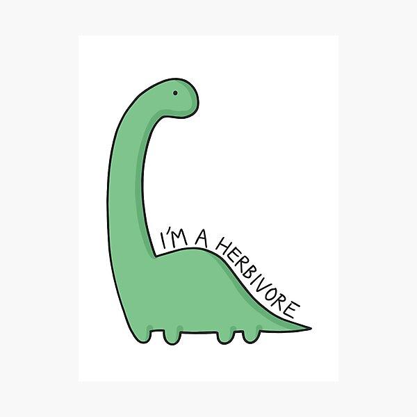 Ilustración de dinosaurio 'Soy un herbívoro' Lámina fotográfica