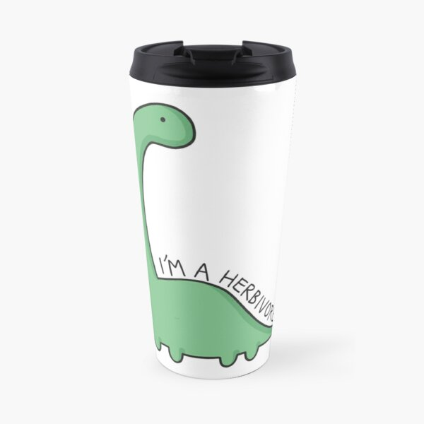 'I'm a Herbivore' Dinosaur Illustration Travel Mug