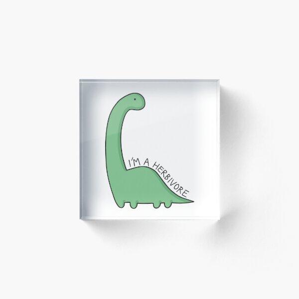 'I'm a Herbivore' Dinosaur Illustration Acrylic Block