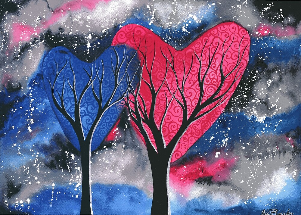 Night Romance - Watercolour heart tree painting by klbailey
