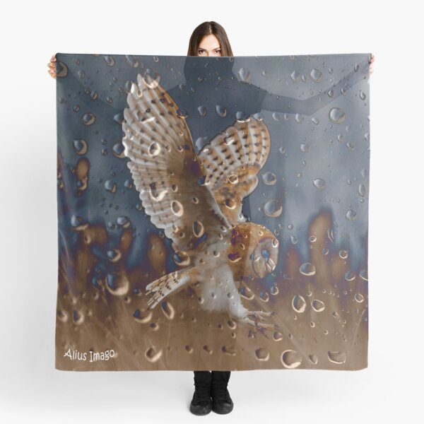 Raindrops - Barn Owl in Flight Scarf