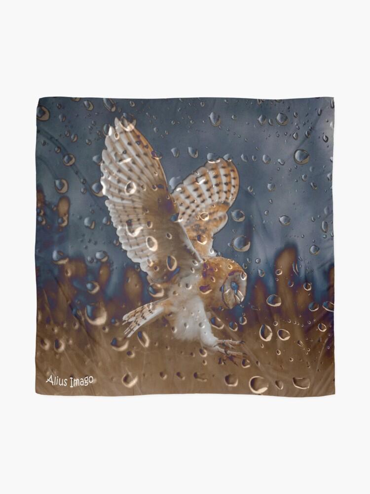 Alternate view of Raindrops - Barn Owl in Flight Scarf