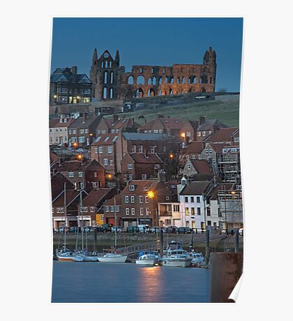 Whitby at Night Poster