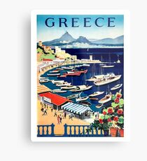 Greece, tourist boats on the coast, vintage travel poster Metal Print