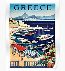 Greece, tourist boats on the coast, vintage travel poster Poster