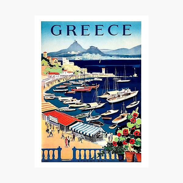 Greece, tourist boats on the coast, vintage travel poster Photographic Print
