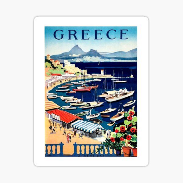 Greece, tourist boats on the coast, vintage travel poster Sticker