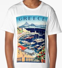 Greece, tourist boats on the coast, vintage travel poster Long T-Shirt