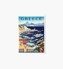 Greece, tourist boats on the coast, vintage travel poster Art Board