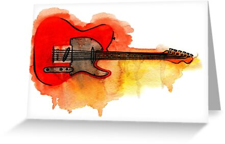 Watercolor guitar greeting cards by ulyanaandreeva redbubble watercolor guitar by ulyanaandreeva m4hsunfo