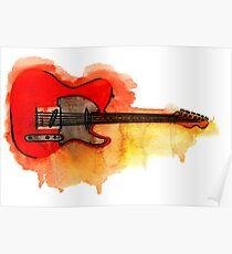 Watercolor guitar Poster