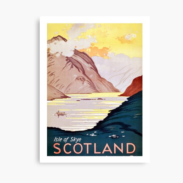 Scotland, Isle of skye, vintage, travel poster Canvas Print